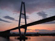 シルエットが浮かぶ、名港トリトンの斜張橋。