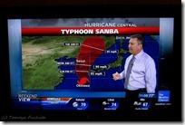 お天気チャンネルでは、日本の台風16号(SANBA)の情報が